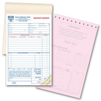 Garage Repair Order Form Booked  Automotive Service Forms