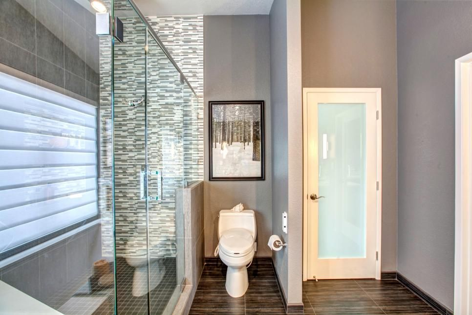 Bathroom Partition Walls Remodelling a skinny slot beside this bathroom's large walk-in shower is the