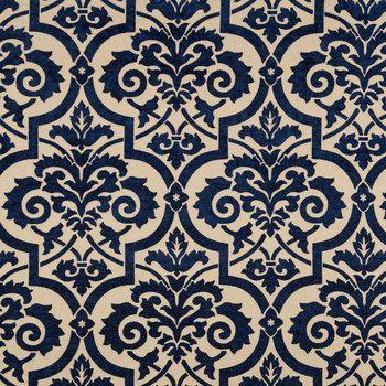Blue Natural Venice Blueberry Home Decor Fabric