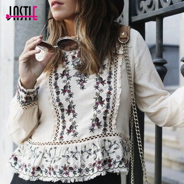 3e92c7db8fdc2 Jastie Floral Embroidered Women Blouse Ruffle Lace Chic O-Neck Long ...