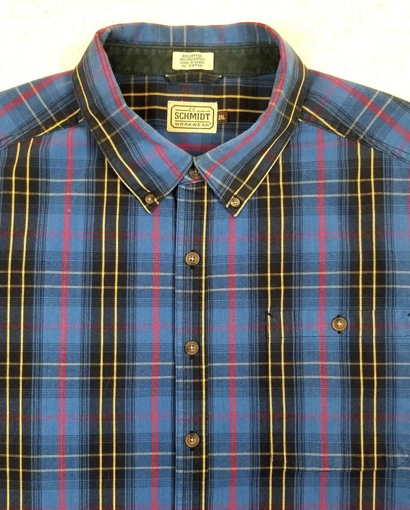 Green checkered dress shirt  CE SCHMIDT Workwear Cotton Blend Blue Plaid Long Sleeve Shirt sz