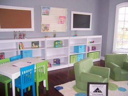White wall storage with colorful table and chairs furniture in preschool kindergarten classroom - Modern daycare furniture ...