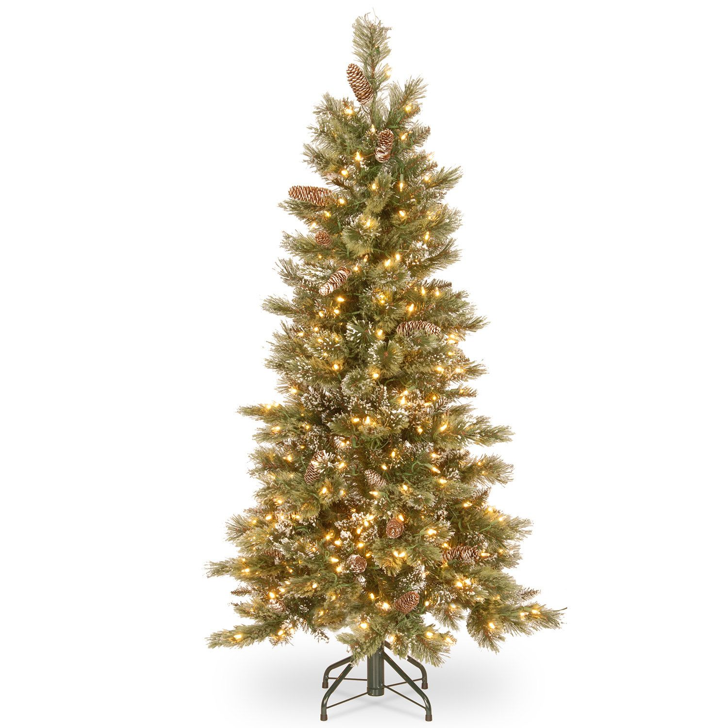 National Tree Company 5-in. Glittering Pine Slim Hinged Pre-Lit ...