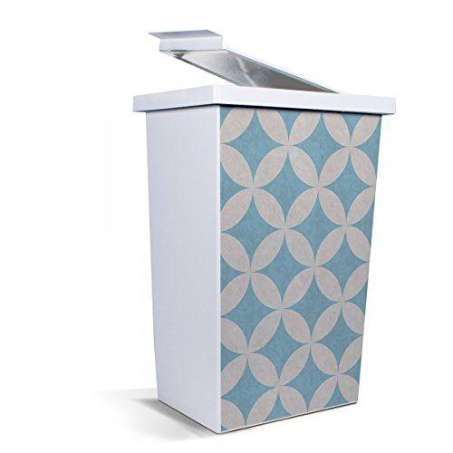 banjado - Mülleimer Design Papierkorb 42 Liter mit Motiv Weiße