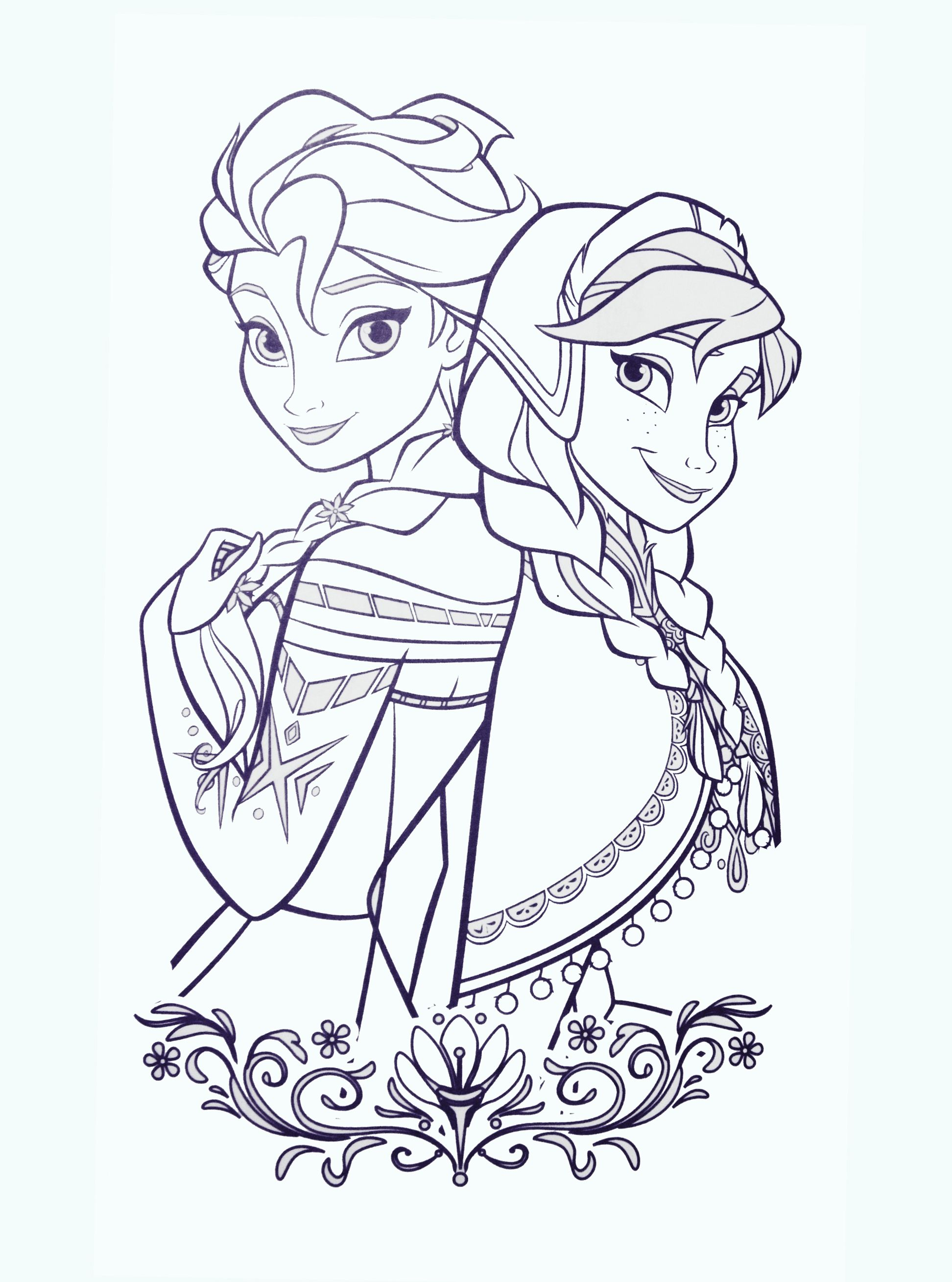 Printable Anna And Elsa Disney Frozen Coloring Pages For
