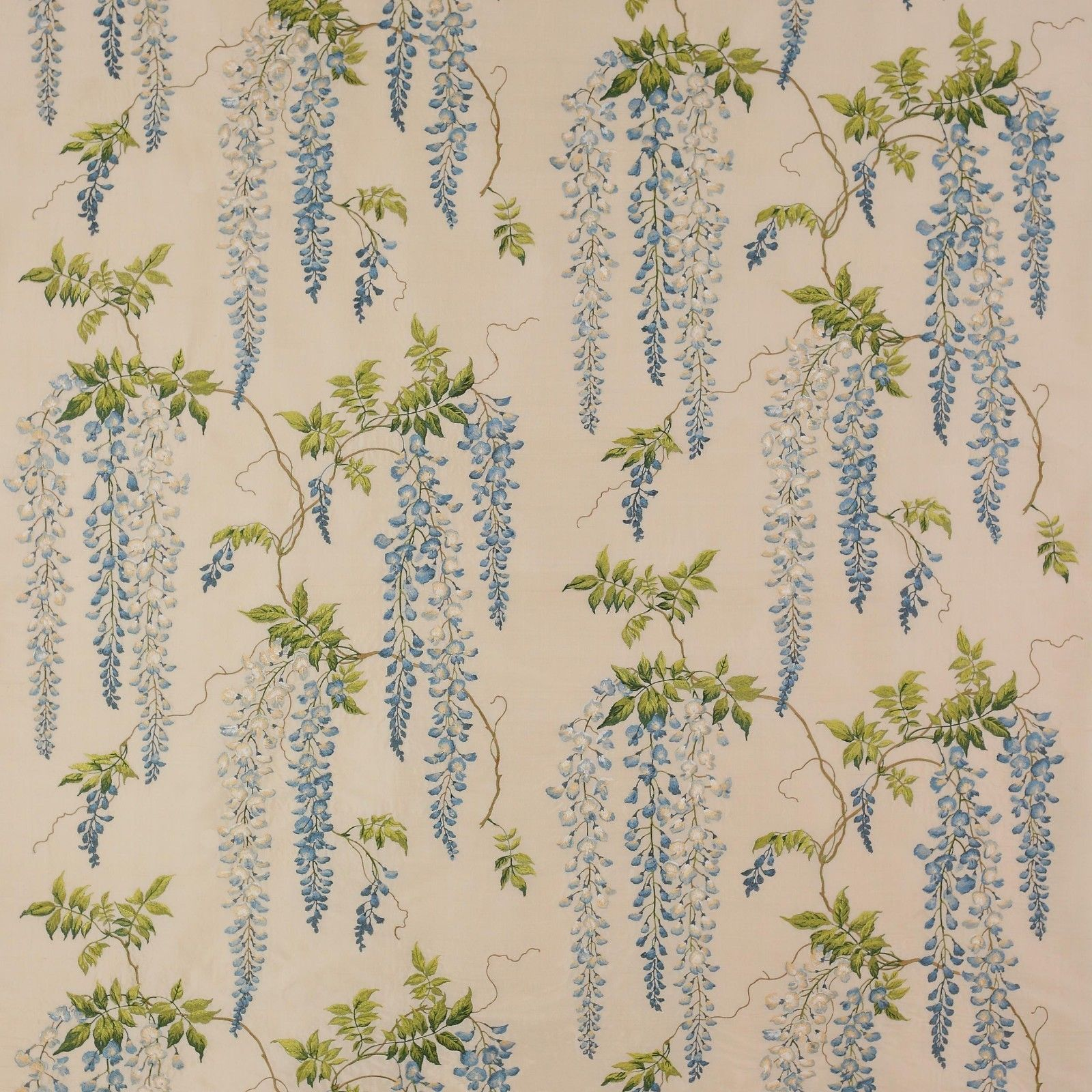 Colefax Fowler Wisteria Embroidered Silk Fabric 10 Yards Blue