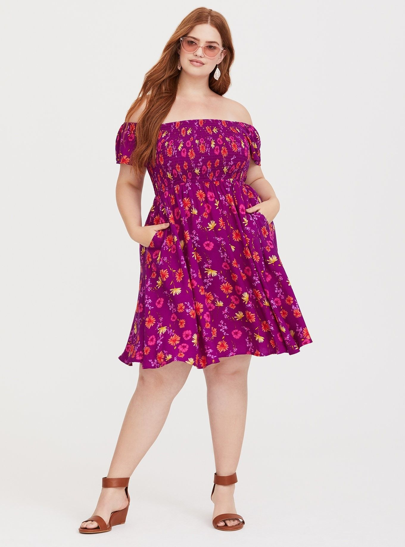 8ec151816d Purple Floral Challis Skater Dress - We love anything pretty and practical