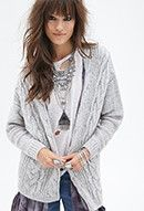 Draped Cable Knit Cardigan