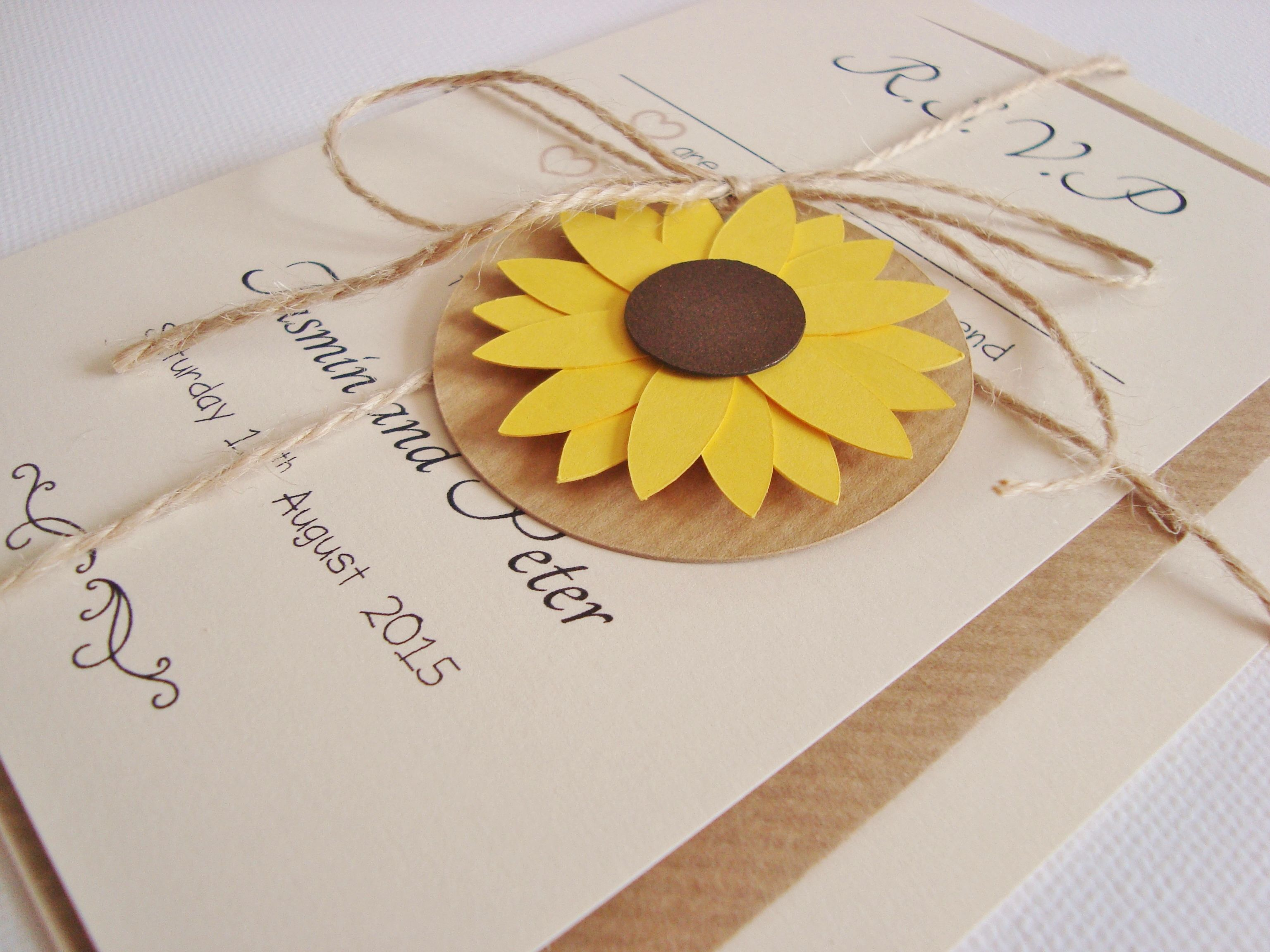 Rustic Sunflower All In One Wedding Invitation perfect