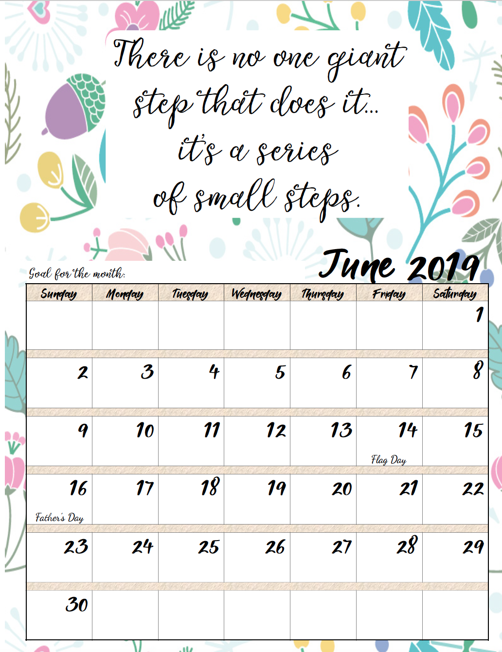 Free Printable 2019 Monthly Motivational Calendars Morning Prayers