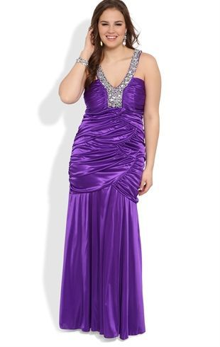 Plus Size Long Prom Dress with Stone Straps and Ruched Bodice