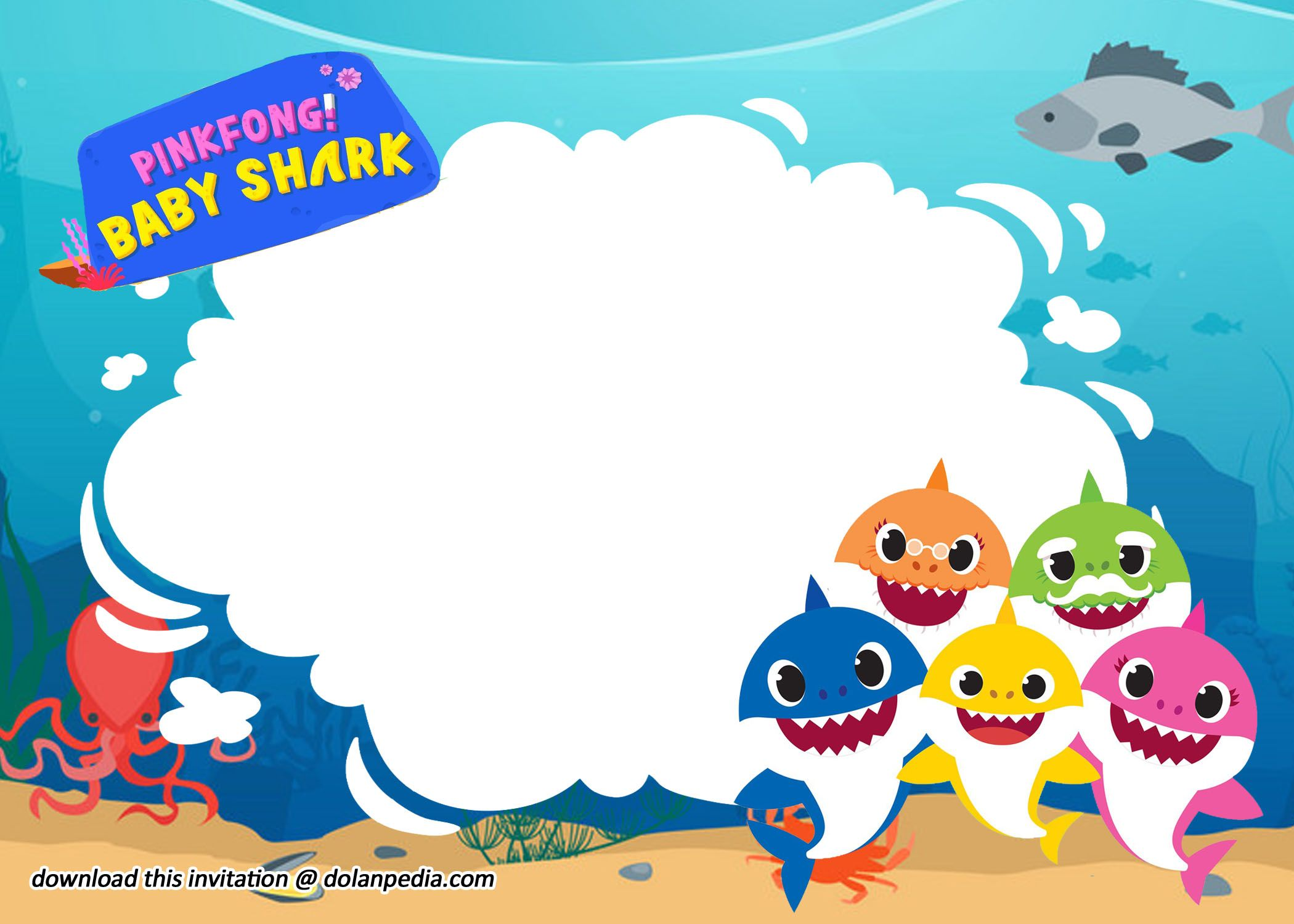Free Printable Baby Shark Invitation Birthday Templates Birthday Template Birthday Invitations Free Printable Invitations Templates