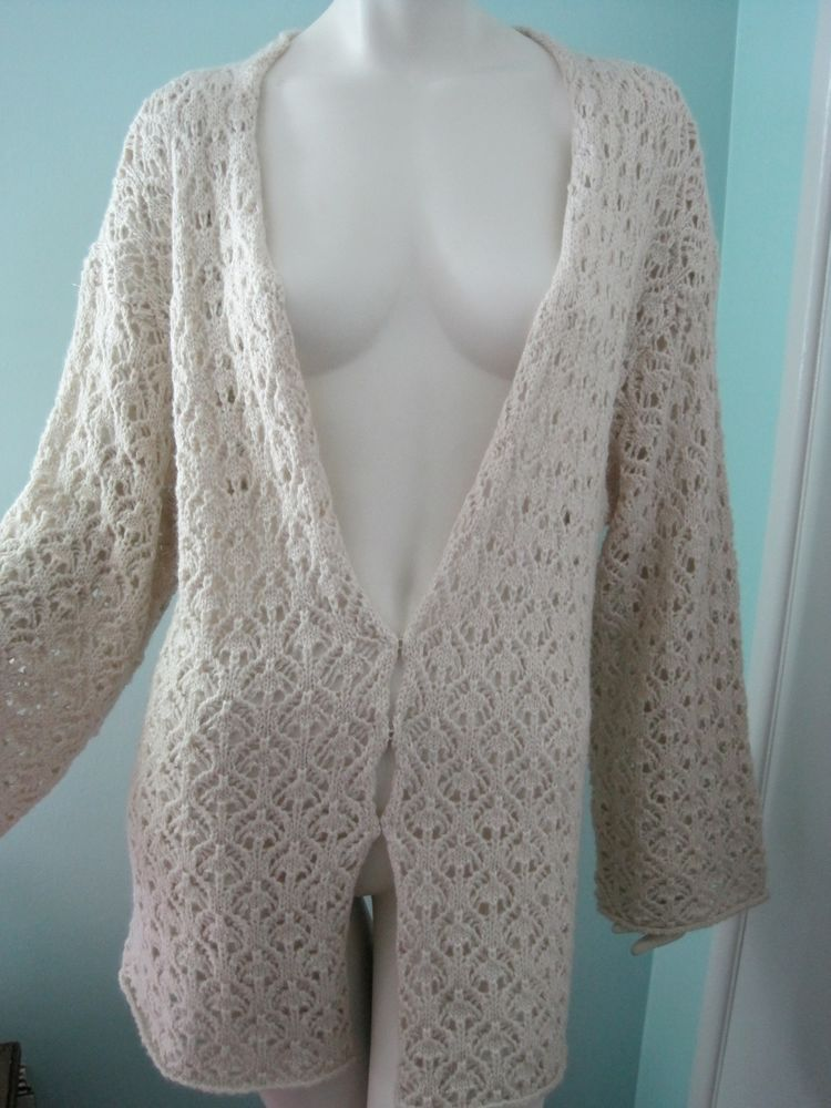 Ivory Gold Knit XL Charter Club Sweater Cardigan Boho Bell Sleeves Classic Chic #CharterClub #Cardigan