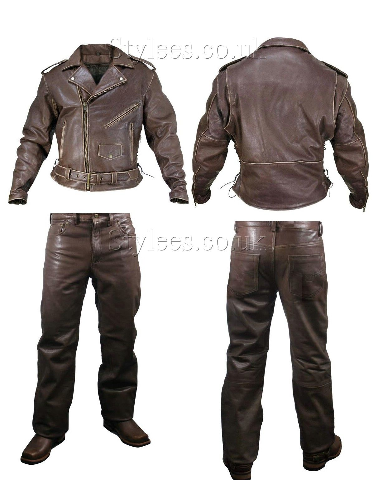 Leather Washed Brown Jacket Motorbiker Rider Touring Bike Jacket
