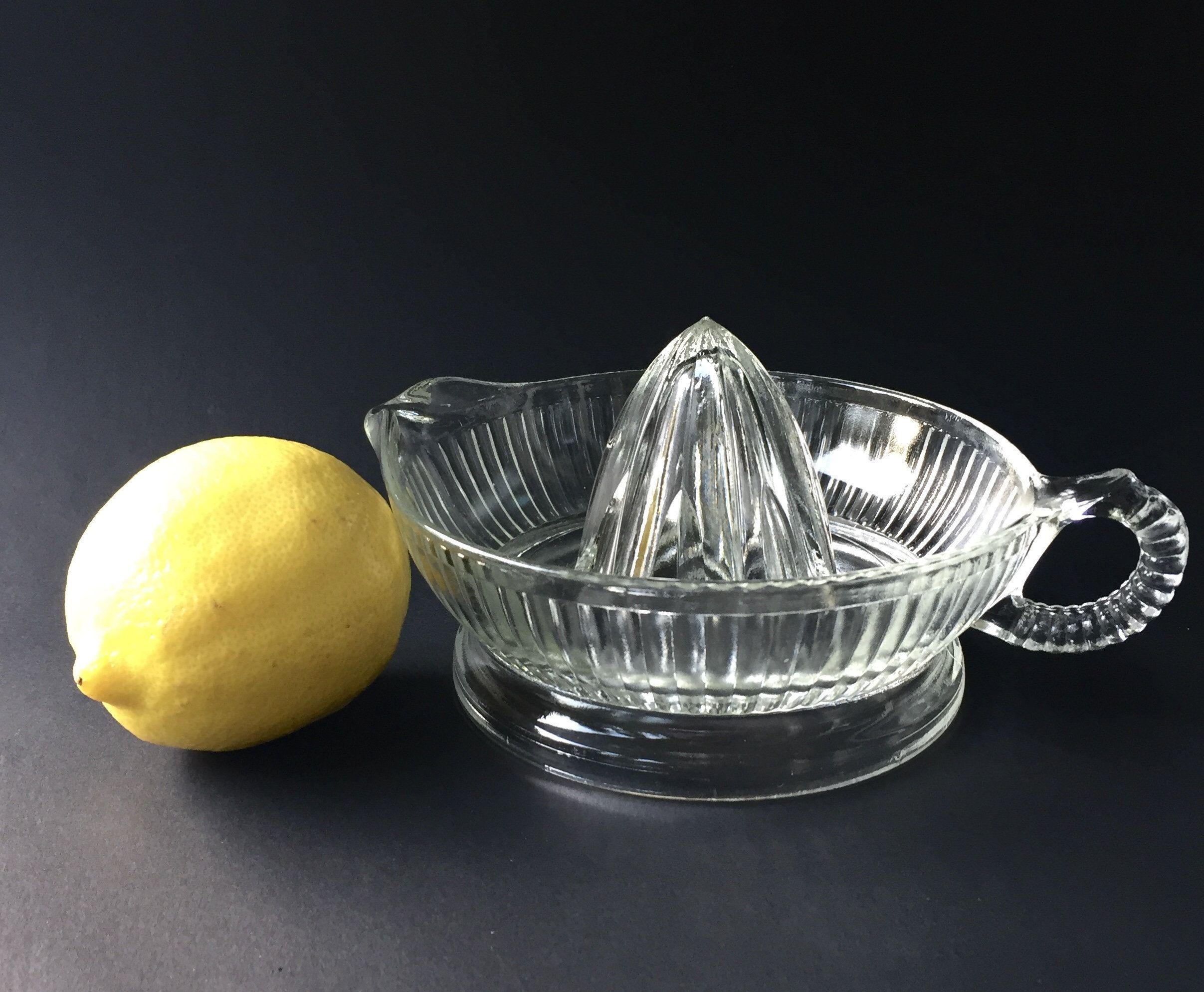 Large Vintage Glass Lemon Juicer Lemon Reamer Citrus Retro Kitchen Glassware Lemon Juicer Juicer Retro Kitchen