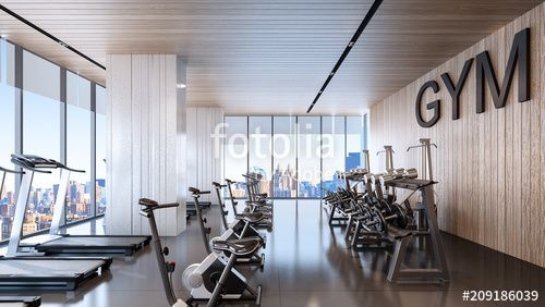 Large fitness center with sky city view , 3d rendering , #Affiliate, #center, #fitness, #Large, #sky...