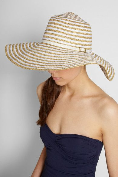Keep your face and shoulders shielded from the sun on your honeymoon! Melissa  Odabash Laurianne wide-brim woven and faille hat -  145 fb3863e45a79