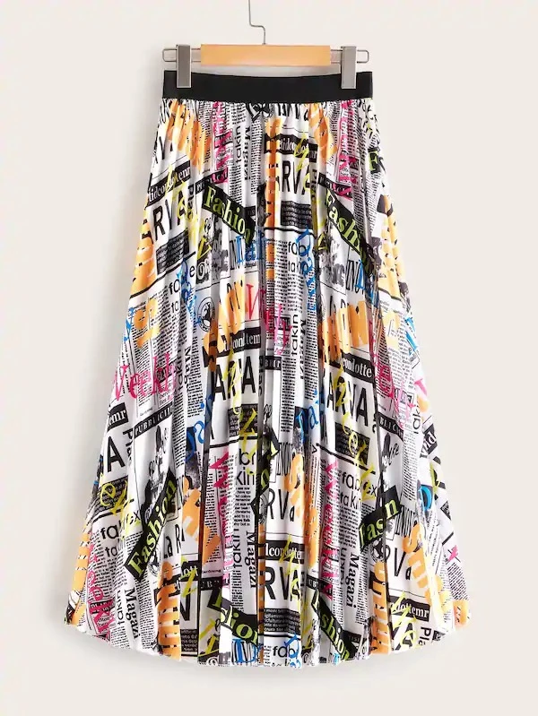 Newspaper Print Elastic Waist Pleated Skirt