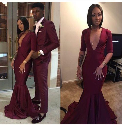 Maroon Prom Dress Long Sleeve Black Girl Prom Dress 2017 Robe De