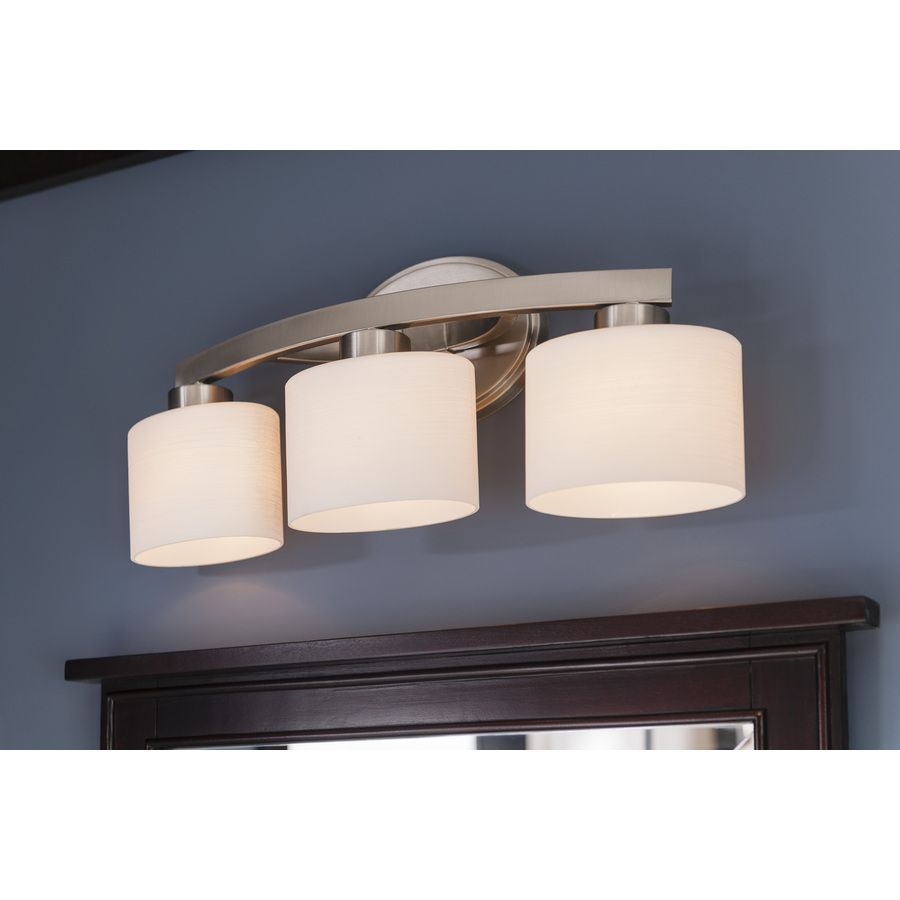 Bathroom Vanity 3 Light Fixture Brushed Nickel Cage Wall Lighting Allen Roth: $74 Shop Allen + Roth 3-Light Merington Brushed Nickel Standard Bathroom Vanity Light At Lowes