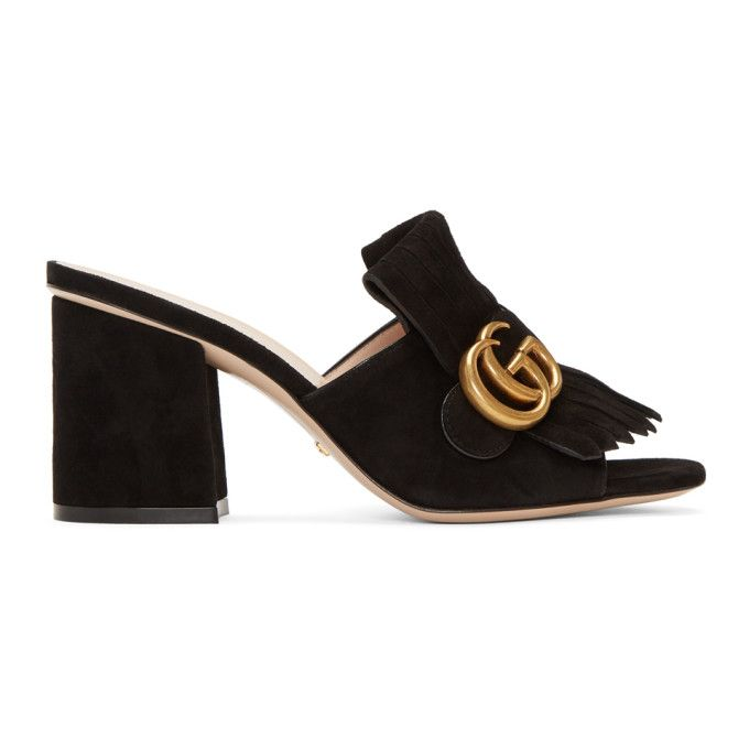 Gucci Black Suede GG Marmont Fringed Mules iKCqzG9tr