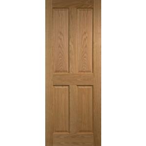 reputable site f5951 3663a 4 Panel Prefinished Oak Veneer Internal Door (H)1981Mm (W ...