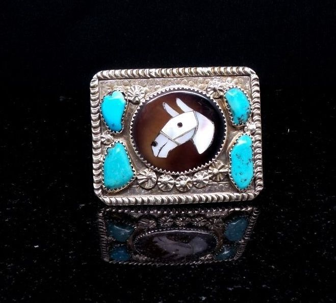 Zuni Handmade Sterling Silver Inlay Horse Head Buckle #Unbranded