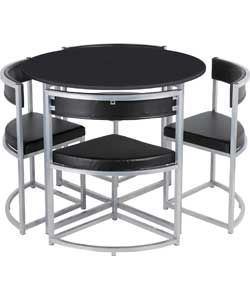 Hygena Milan Space Saver Table And 4 Chairs Black Small Dining Room Table Dining Table Black Space Saver Kitchen Table