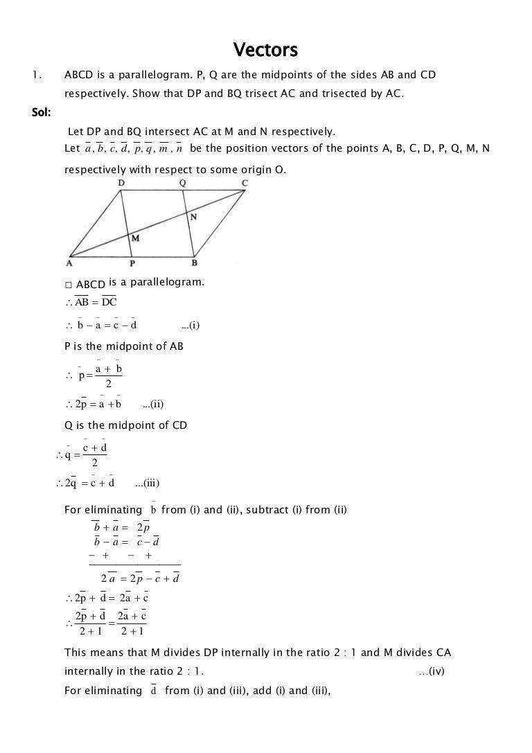 Class 12 Maths Vectors Math Vector Math Notes Math Tricks Vector addition worksheet answers key