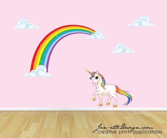 rainbow unicorn wall decal, unicorn wall sticker, rainbow wall art