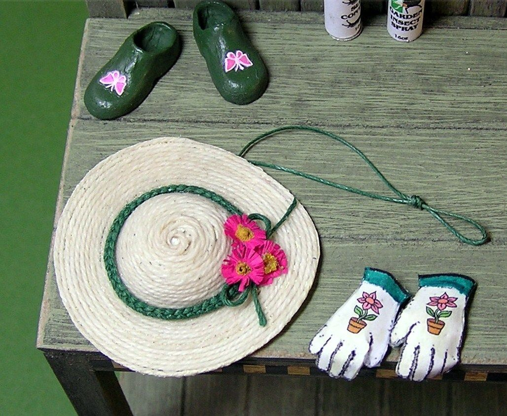 How To Gardening Gloves Clogs And Hat Miniature
