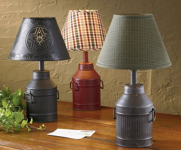 The country porch features the antique milk can lamp from park designs