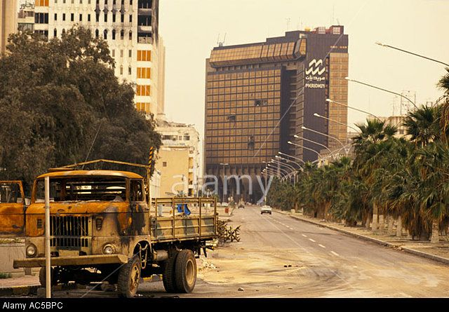 Kuwait War Torn Burnt Out Army Trucks In The Street Before The