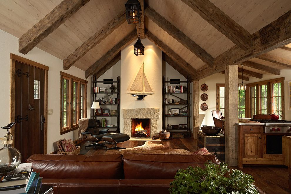 Timber ceiling design living room rustic with leather for Cathedral style ceiling