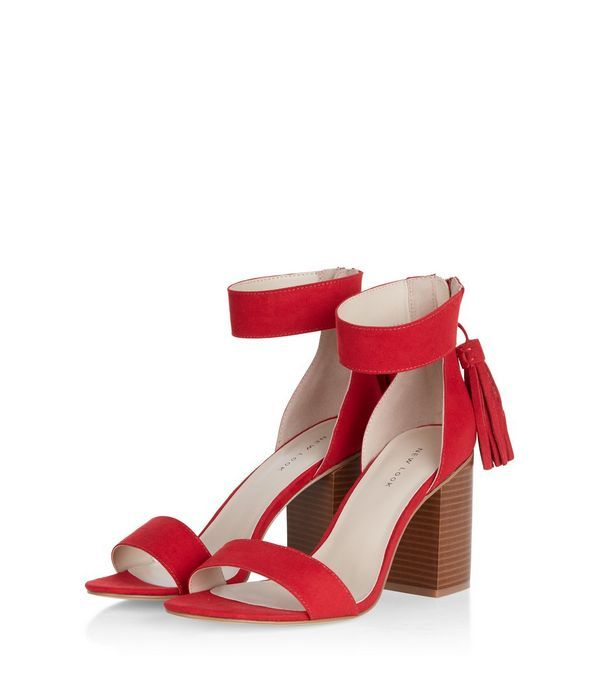 Red Suedette Tassel Drop Block Heel Sandals