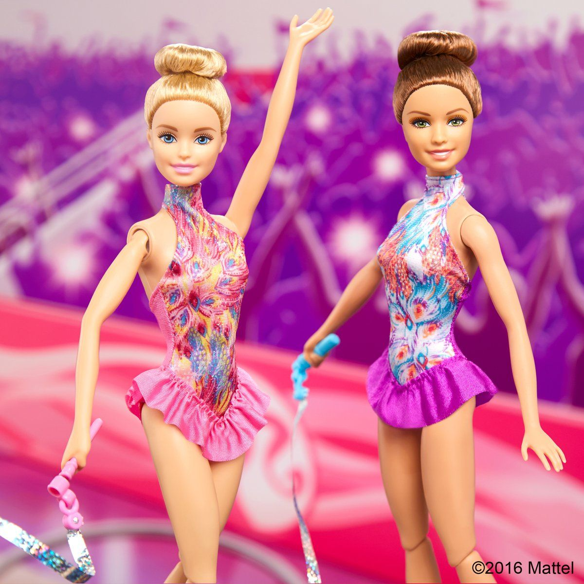 Pull the drawstring to see your Barbie Ribbon Gymnast Doll twirl her ...