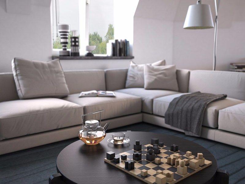 woonstijl: interieur impressie woonkamer met lichtgrijze hoekbank, Deco ideeën