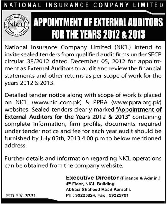 National Insurance Company Limited Appointment Of External