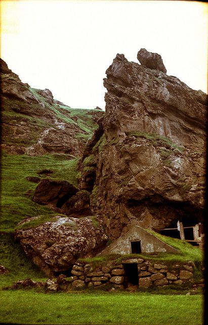 Icelandic turf house~ Hafnarfjördur is famous for having one of Iceland's largest settlements of elves, dwarves and other mystical beings, which (translating from the Icelandic) are collectively called 'Hidden Folk.' Centuries-old folklore has it that whole clans of such beings reside in the rocks that make up part of the town's centre.