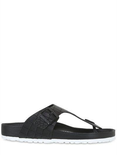 a862aff7ac30 BIRKENSTOCK Ramses Croc Embossed Leather Sandals