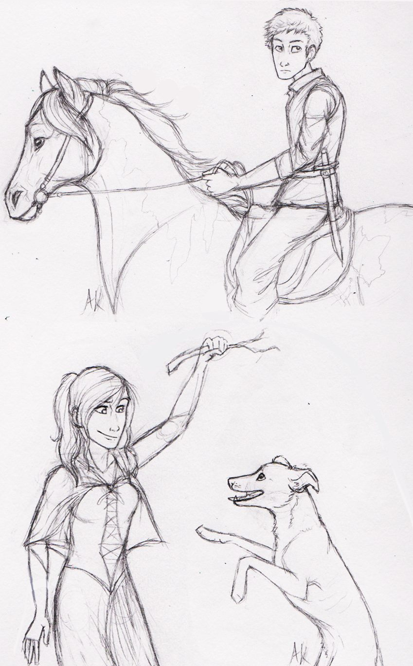 Pets: Celaena Sardothien and Fleet Foot and Chaol Westfall and his horse