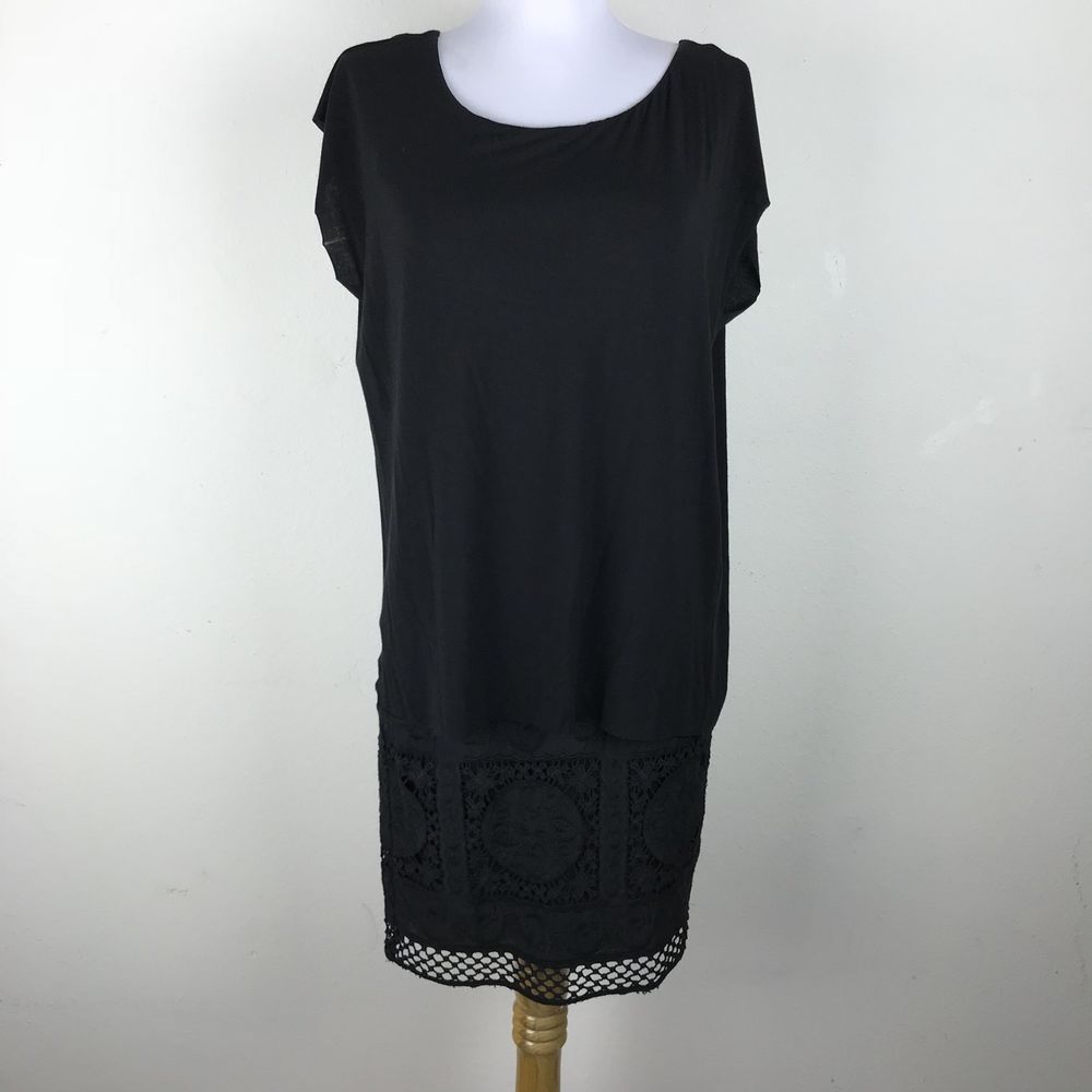 Bailey 44 Dress XS Black Embroidered Skirt Floral Crochet Rayon Spandex Layered #Bailey44