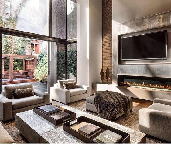 Pin By Luciana Melo On Keting Cozy Living Room Design Living Room With Fireplace Modern Fireplace Modern new york living room