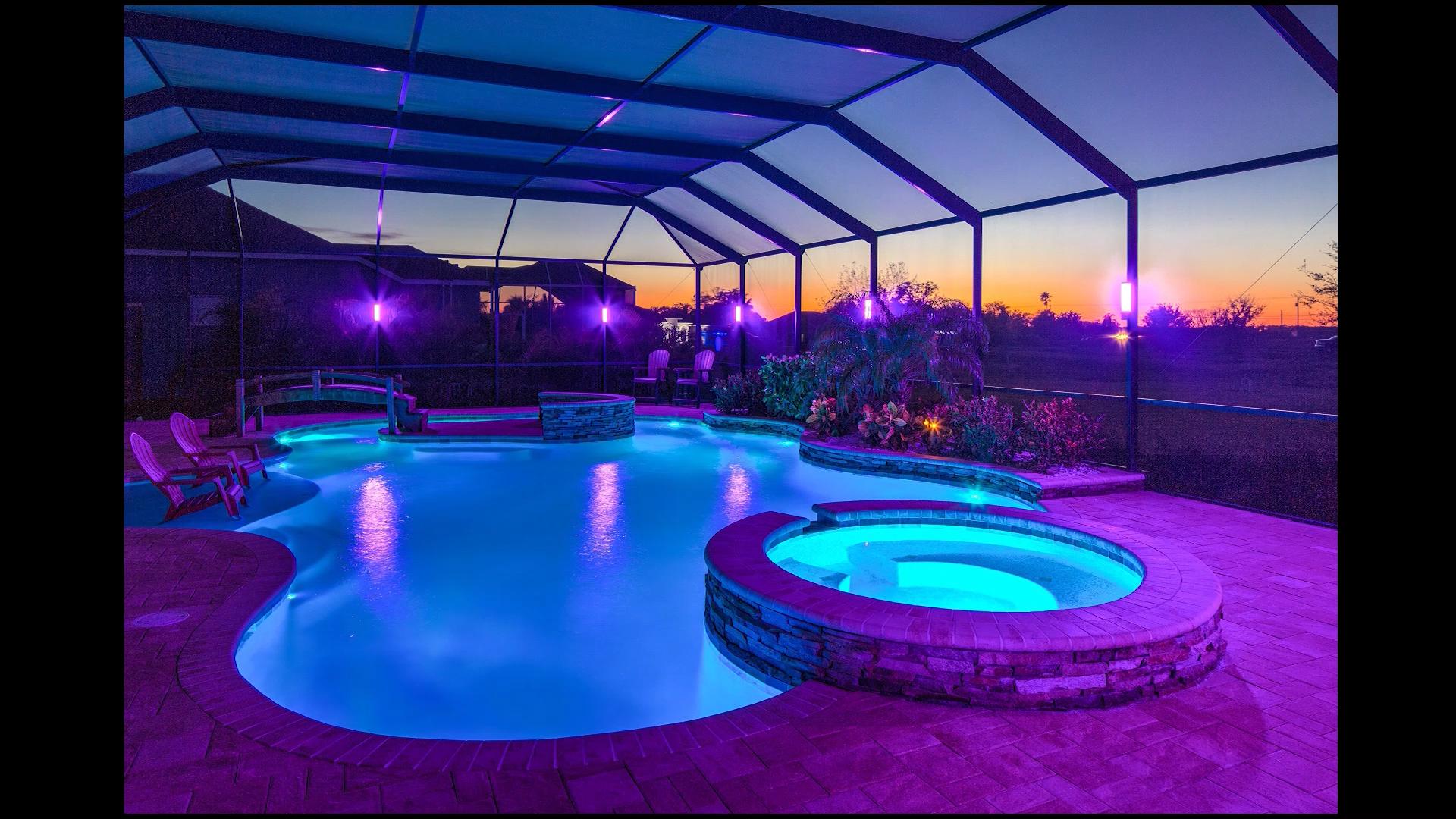 elegant led lanai lighting video pool enclosure lighting florida pool indoor swimming pool design