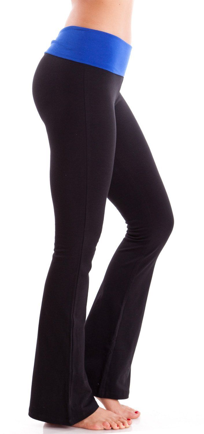 aafed47798 Ladies Black Yoga Pants Blue Fold-over Waistband | Clothes | Blue ...