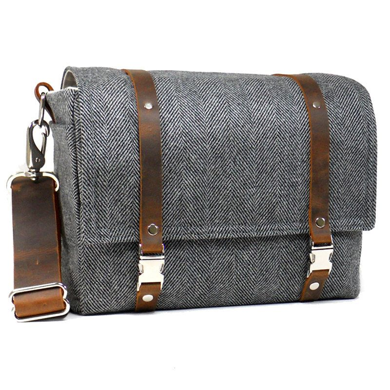 d28e7885d6 Medium DSLR camera bag with padded insert - gray herringbone wool ...