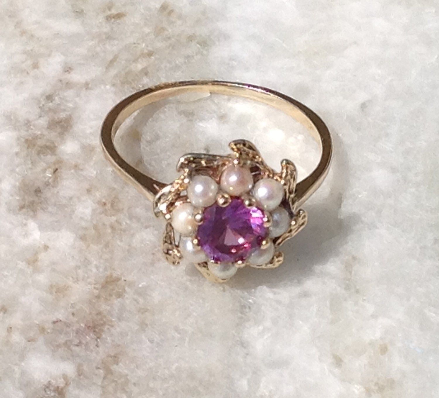 Seed Pearl And Amethyst Ring 14KY Vintage Amethyst And ...