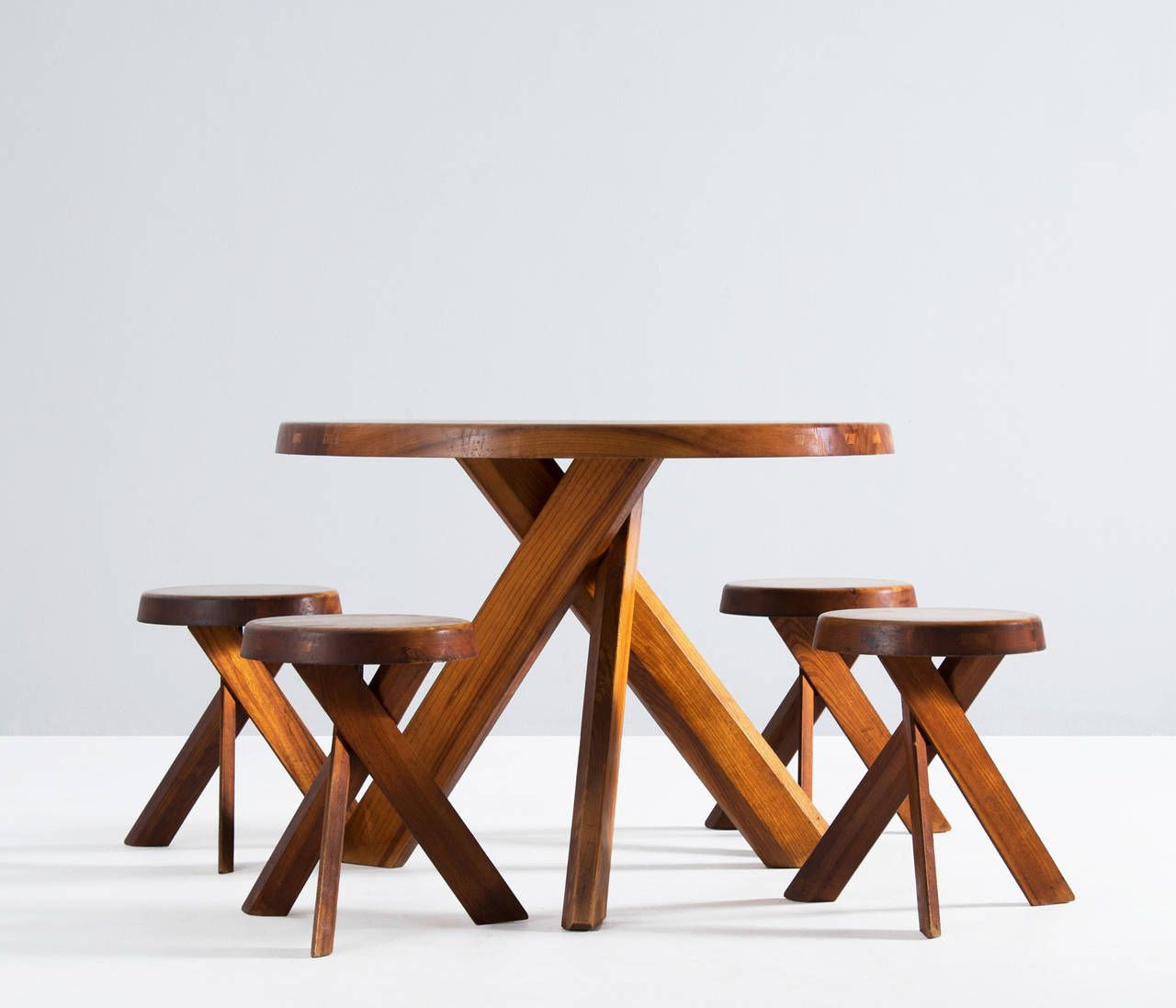 Pierre Chapo Round Table And Four Stools 1stdibs Com