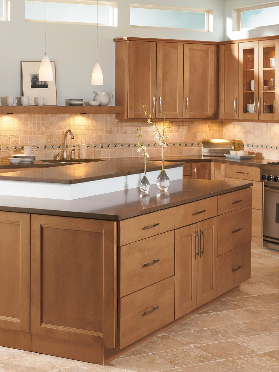Shenandoah Cabinetry, island in Solana Spice | Kitchen Islands ...