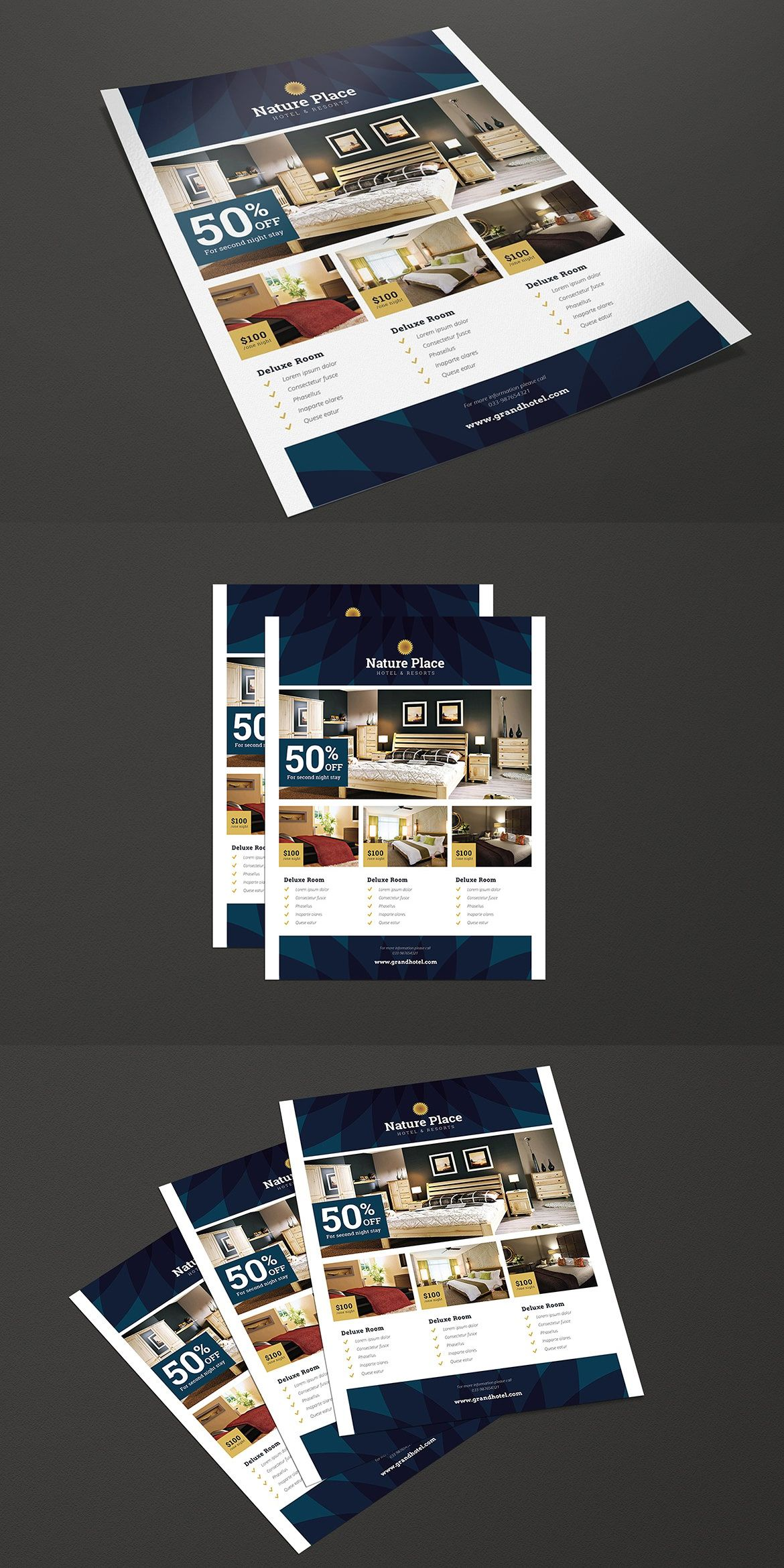 modern clean hotel flyer template ai psd